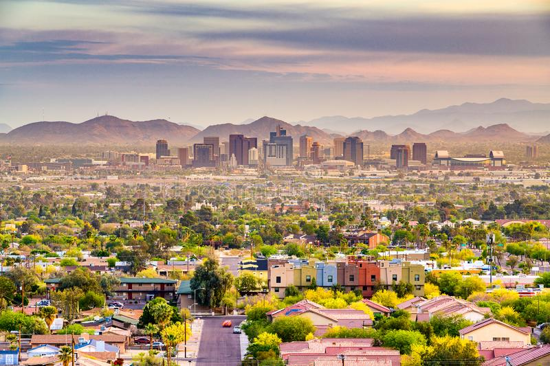 Phoenix, Arizona, USA. Downtown cityscape at dusk stock images