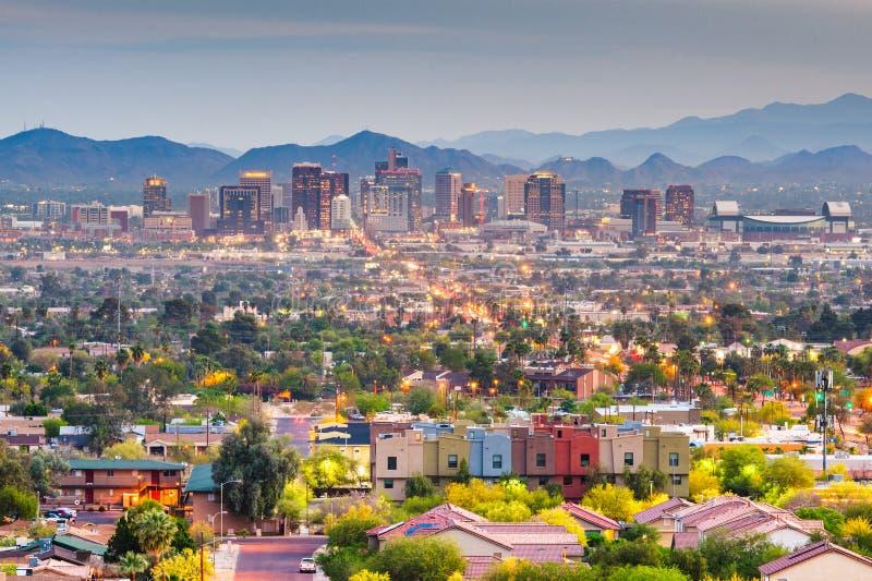 Phoenix Arizona, USA i stadens centrum cityscape fotografering för bildbyråer