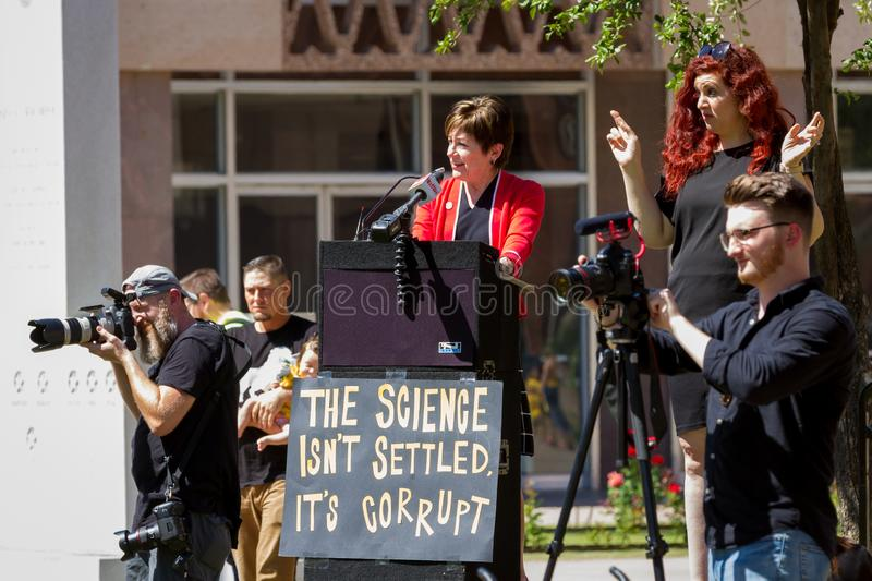 PHOENIX, ARIZONA-USA – MAY 18, 2019- AZ Rep. Nancy Barto speaks at Arizona March for Medical Freedom. At the State Capitol building. Rally to protect stock image