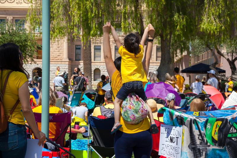 PHOENIX, ARIZONA-USA – MAY 18, 2019- Crowd at the Arizona March for Medical Freedom. At the State Capitol building. Rally to protect rights to make royalty free stock images