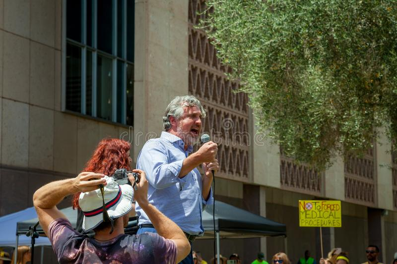 PHOENIX, ARIZONA-USA – MAY 18, 2019- Del Bigtree at the Arizona March for Medical Freedom. At the State Capitol building. Rally to protect rights to make royalty free stock photography