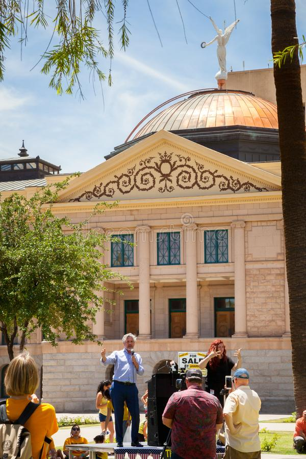 PHOENIX, ARIZONA-USA – MAY 18, 2019- Del Bigtree at the Arizona March for Medical Freedom. At the State Capitol building. Rally to protect rights to make stock photo
