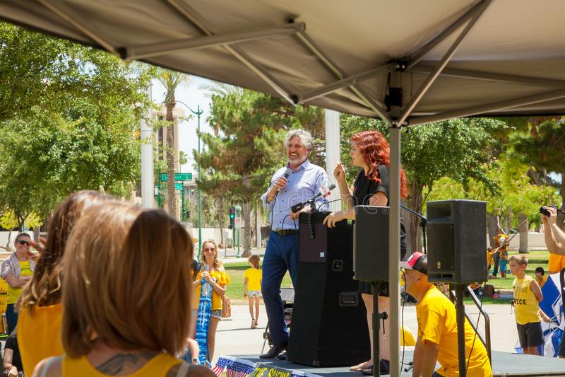 PHOENIX, ARIZONA-USA – MAY 18, 2019- Del Bigtree speaks at the Arizona March for Medical Freedom. At the State Capitol building. Rally to protect rights royalty free stock images