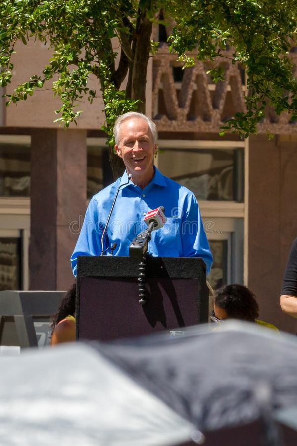 PHOENIX, ARIZONA-USA – MAY 18, 2019- Dr. Alan Palmer speaks at the Arizona March for Medical Freedom. At the State Capitol building. Rally to protect royalty free stock photos