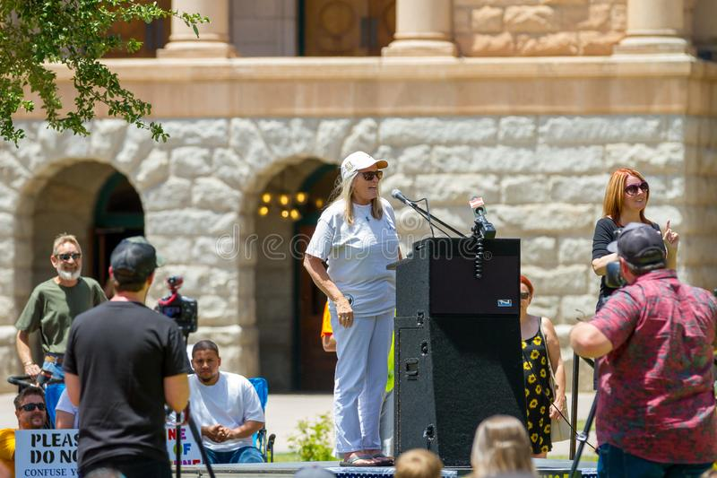 PHOENIX, ARIZONA-USA – MAY 18, 2019- Judy Mikovits PhD speaks at the Arizona March for Medical Freedom. At the State Capitol building. Rally to protect stock photo