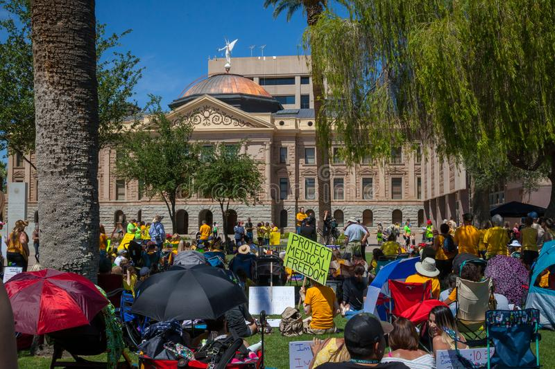 PHOENIX, ARIZONA-USA – MAY 18, 2019- Arizona March for Medical Freedom. At the State Capitol building. Rally to protect rights to make medical decisions stock photos