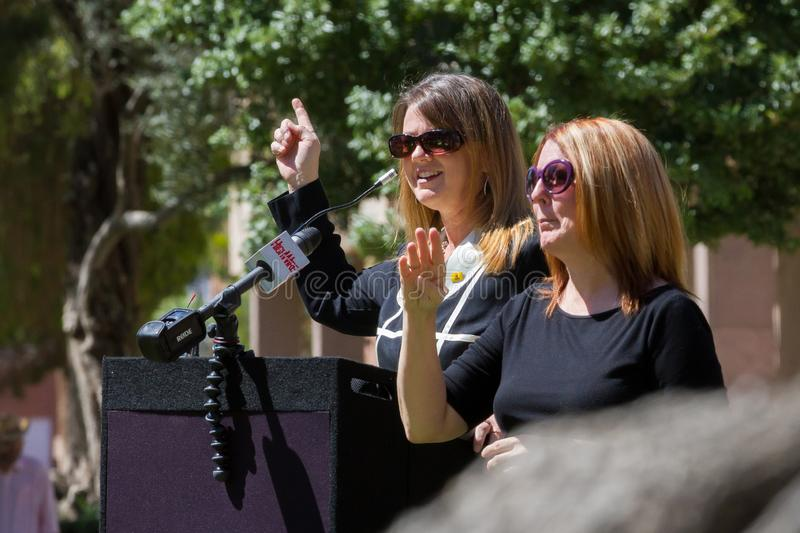 PHOENIX, ARIZONA-USA – MAY 18, 2019- Representative Kelly Townsend speaks at the Arizona March for Medical Freedom. At the State Capitol building. Rally royalty free stock image