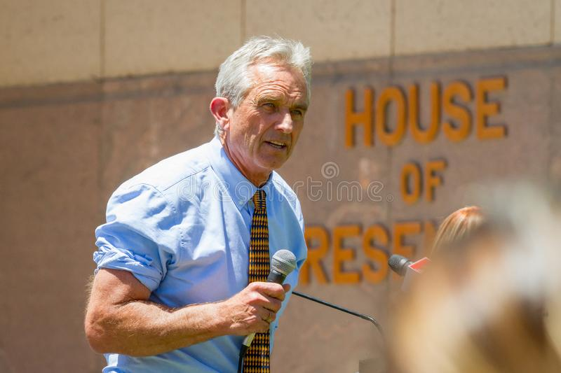 PHOENIX, ARIZONA-USA – MAY 18, 2019- Robert F Kennedy Jr. onstage at the Arizona March for Medical Freedom. At the State Capitol building. Rally to stock images