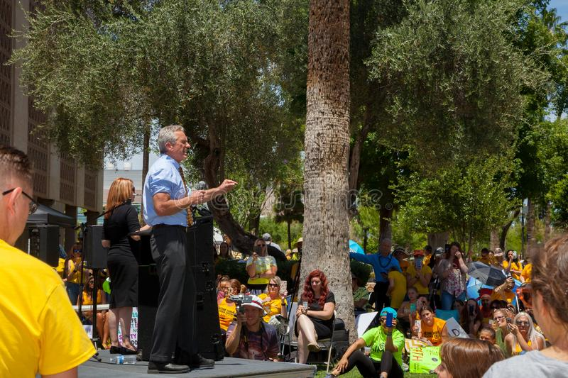 PHOENIX, ARIZONA-USA – MAY 18, 2019- Robert F. Kennedy Jr.  speaks at the Arizona March for Medical Freedom. At the State Capitol building. Rally to stock photos