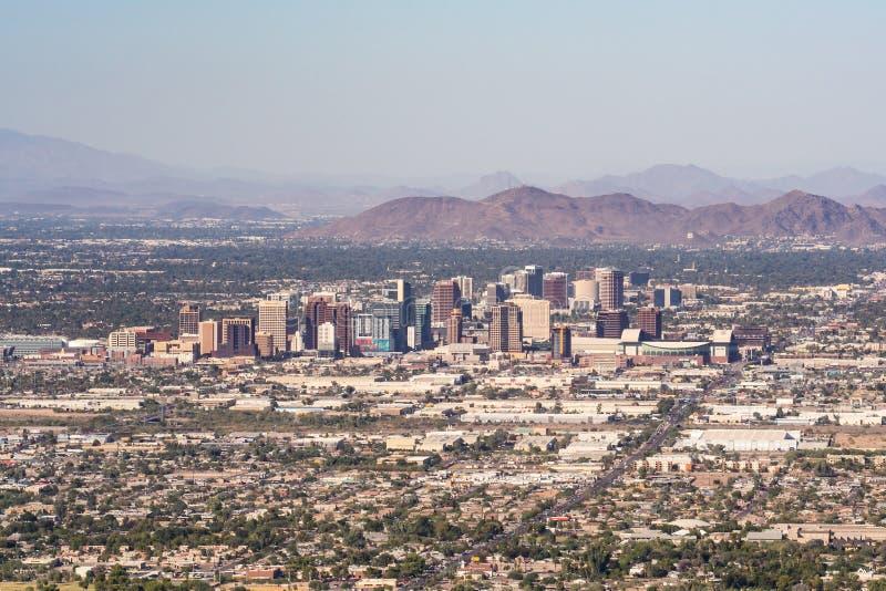 Phoenix Arizona Skyline. PHOENIX, AZ - OCTOBER 25, 2017: Skyline and suburban sprawl of Phoenix, Arizona from South Mountain royalty free stock image