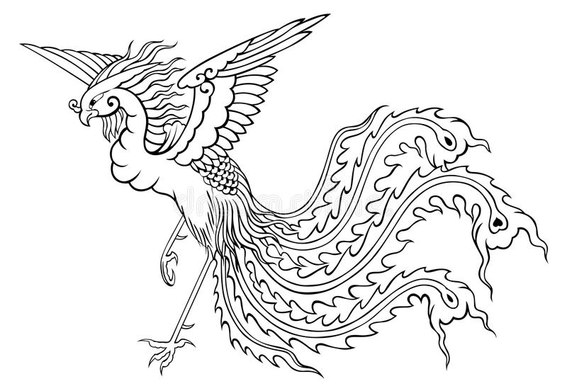 Phoenix chinese style for coloring stock images