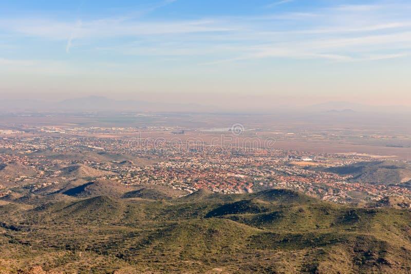 Phoenix city Arizona. Scenic view of Phoenix city suburbs viewed from South Mountain, Arizona, U.S.A stock photography