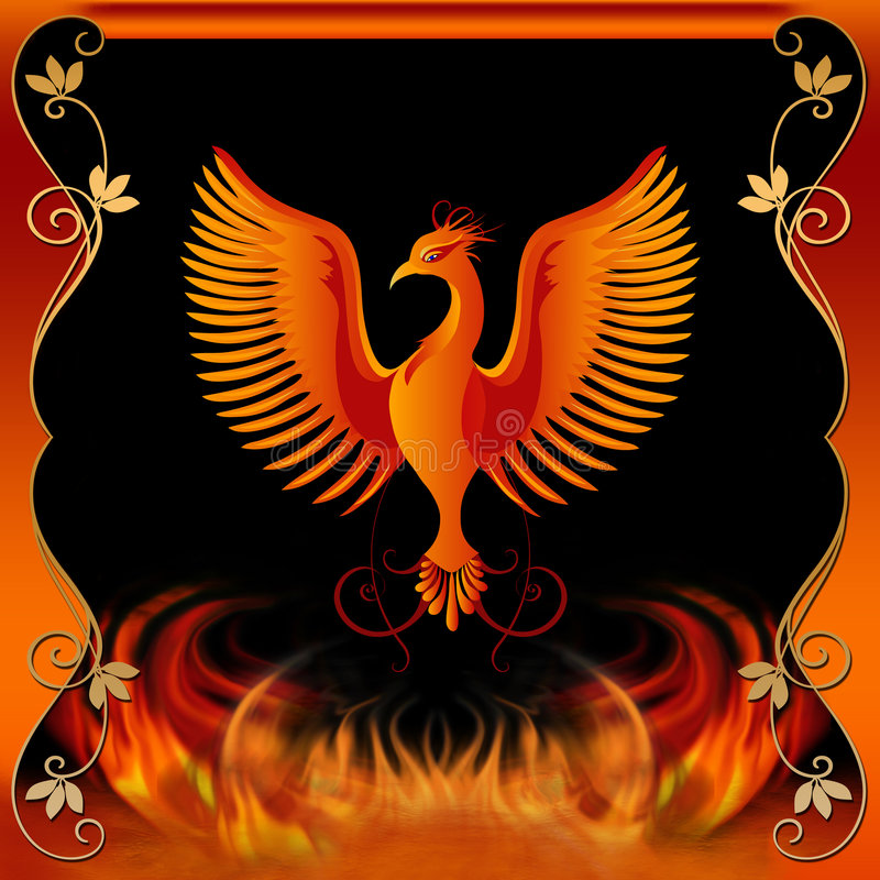 Phoenix con el fuego y la frontera decorativa libre illustration