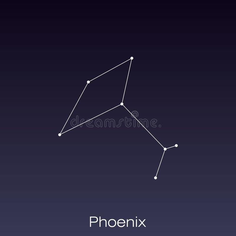 Constellation as it can be seen by the naked eye. Phoenix constellation as it can be seen by the naked eye vector illustration