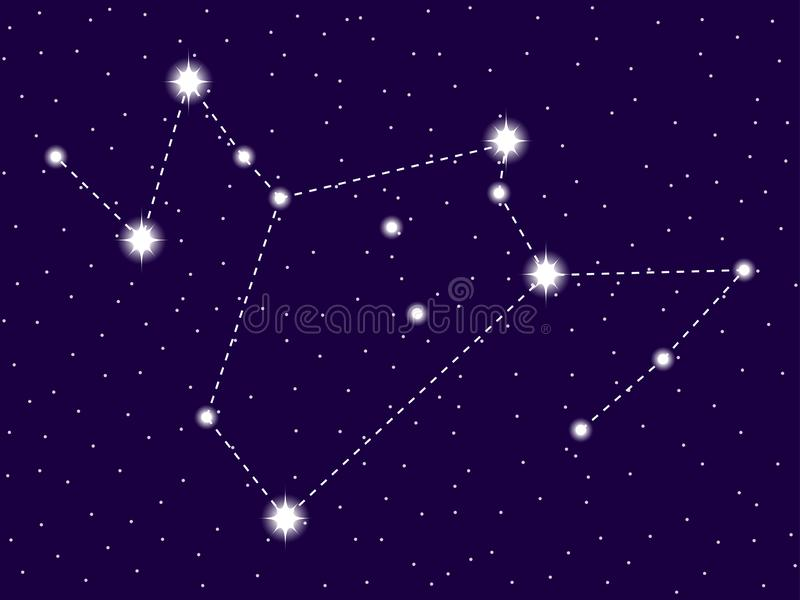 Phoenix constellation . Starry night sky. Zodiac sign. Cluster of stars and galaxies. Deep space. Vector. Illustration vector illustration