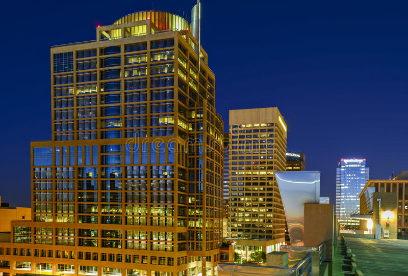 Phoenix del centro, Arizona alla notte immagini stock libere da diritti