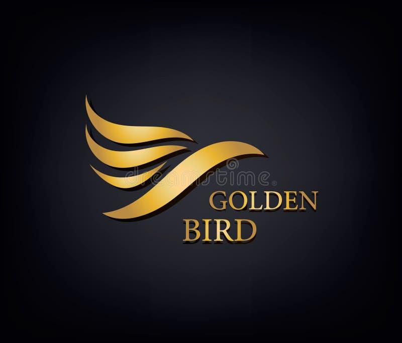Phoenix dourado, o tipo do pássaro, o logotipo animal, a identidade de marca luxuosa para a forma do hotel e os esportes marcam o ilustração stock