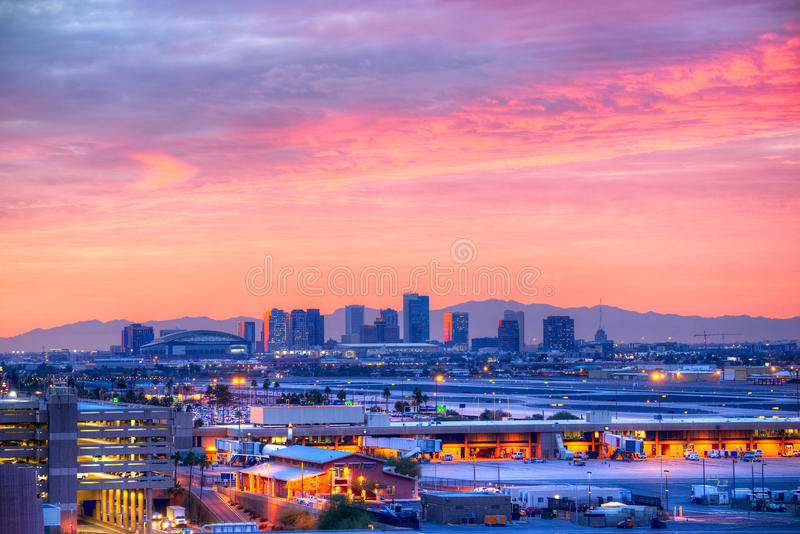 Phoenix. Downtown Phoenix highrise buildings at dawn royalty free stock photography