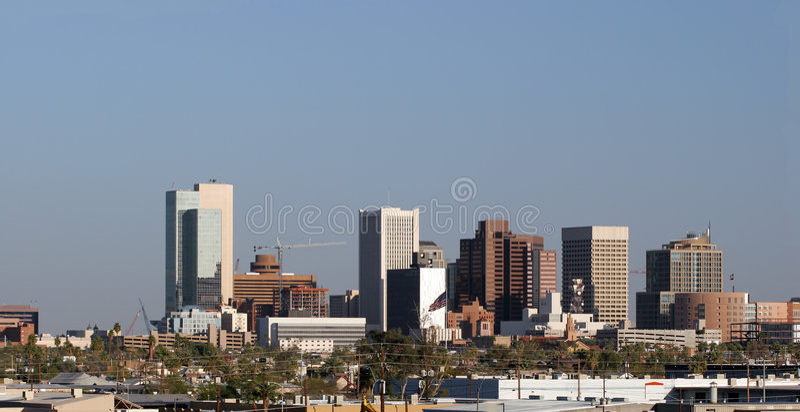 Phoenix Downtown Panorama, AZ royalty free stock images