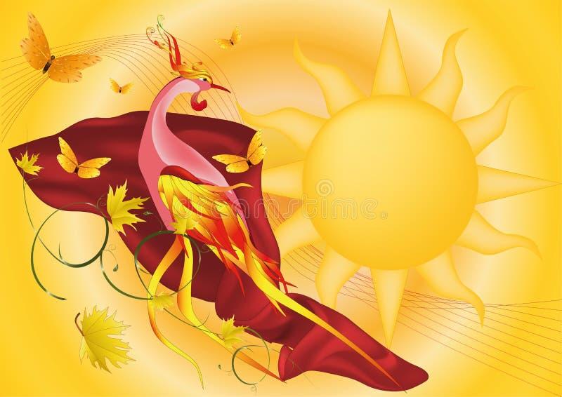 Phoenix e o sol ilustração stock