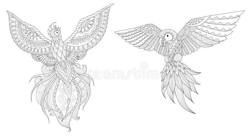 Phoenix e papagaio ilustração stock