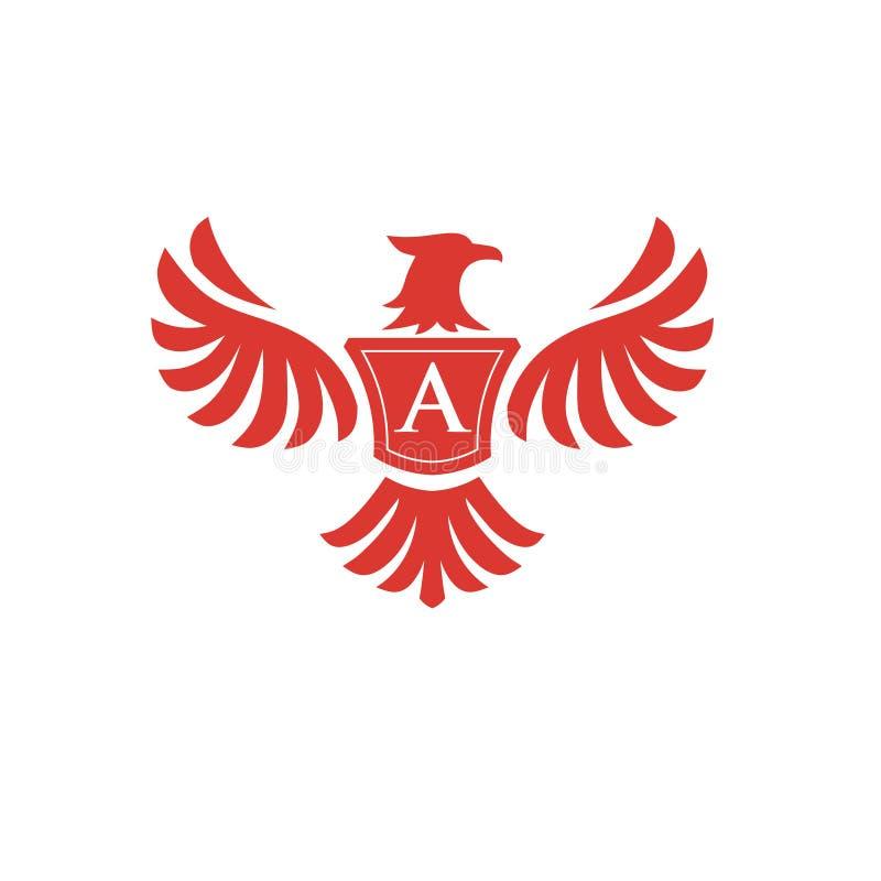 Phoenix elegante con el logotipo de la letra A stock de ilustración