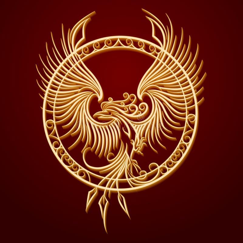 Phoenix-Emblem im Kreis lizenzfreie abbildung