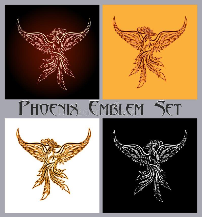 Phoenix emblemata set ilustracji