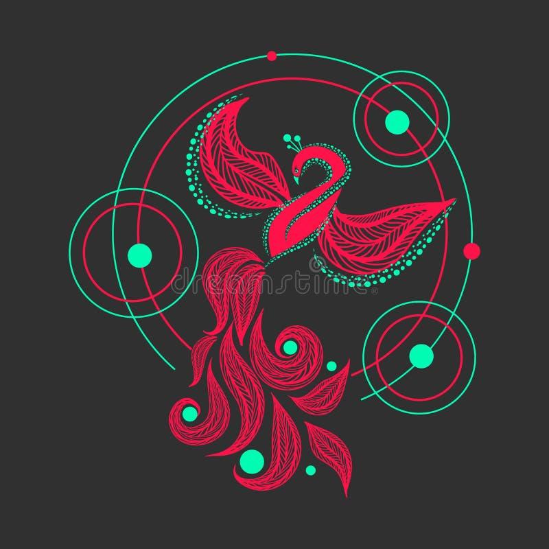 Phoenix fågel För fågelvektor för påfågel flaing illustration Firebird geometrisk tatueringdesign vektor illustrationer