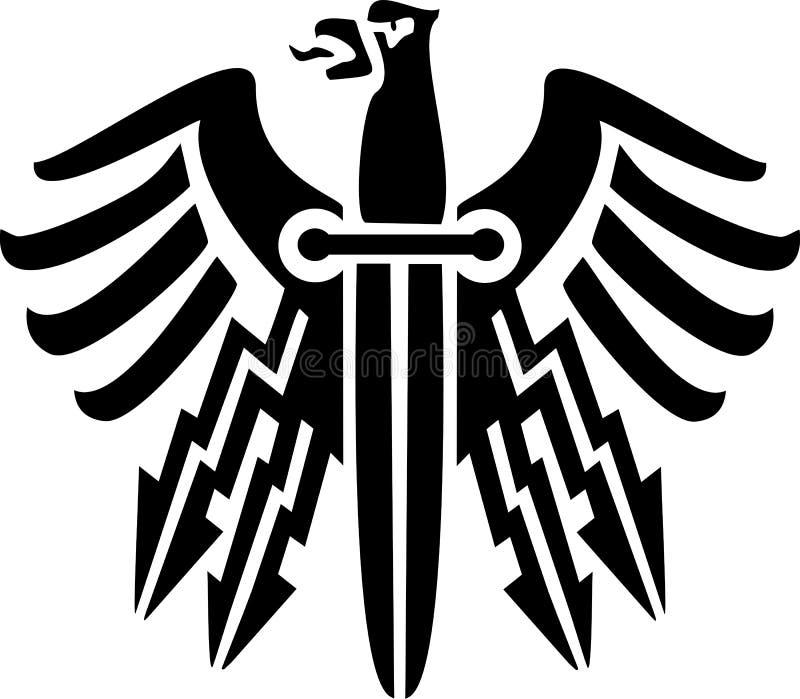 Phoenix fågel- och knivform vektor illustrationer