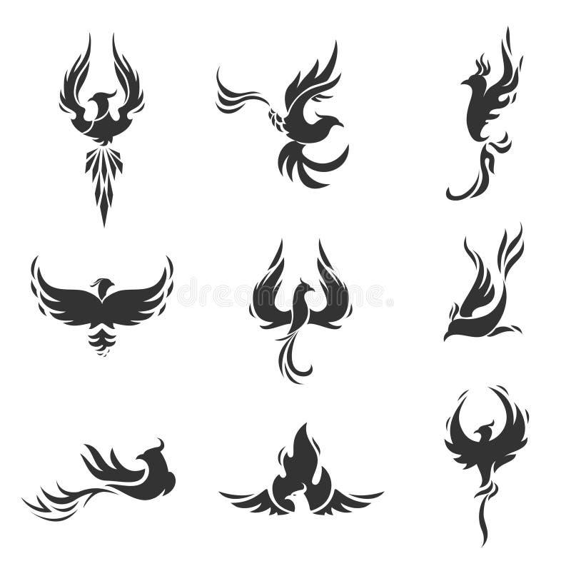 Phoenix fågel stiliserade symboler på vit bakgrund vektor illustrationer