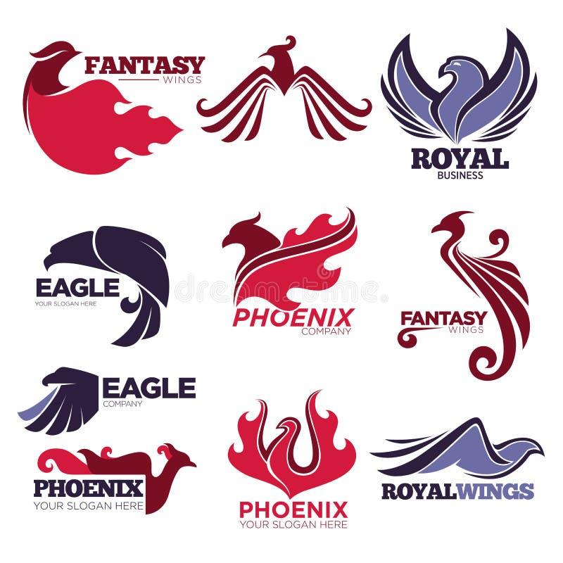 Phoenix-Feuervogelphantasieadlervektorschablonen-Firmenikonen eingestellt lizenzfreie abbildung