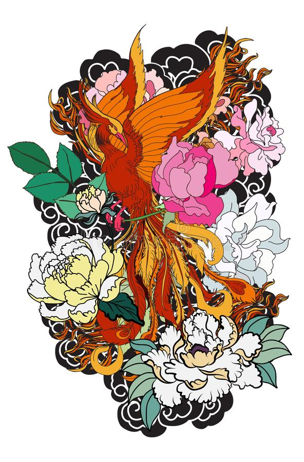 Phoenix fire bird with Peony flower and rose on cloud and wave background.Hand drawn Japanese tattoo style.Beautiful pho vector illustration