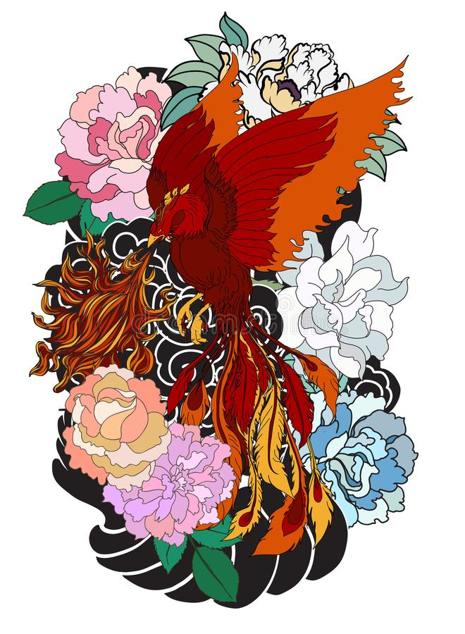 Phoenix fire bird with Peony flower and rose on cloud and wave background.Hand drawn Japanese tattoo style.Beautiful pho. Colorful Phoenix fire bird with Peony stock illustration