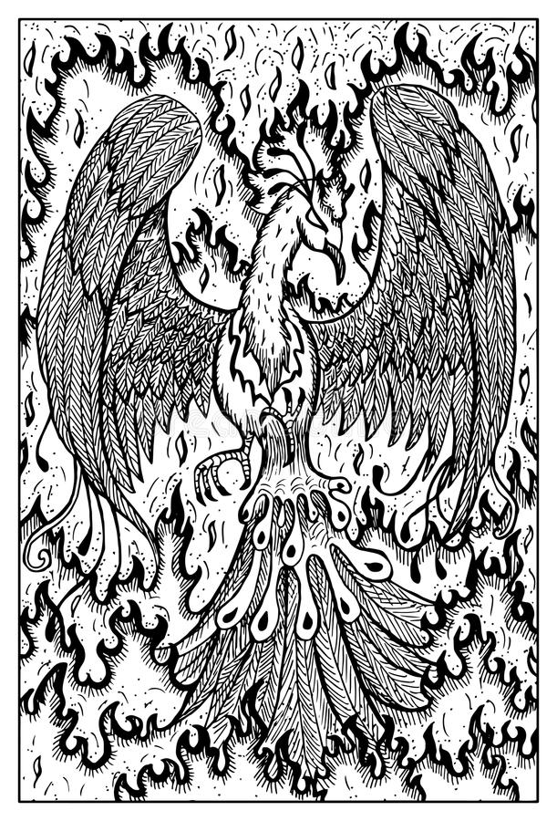 Phoenix in fire. Engraved fantasy illustration. Phoenix in flame. Bird in fire. Fantasy magic creatures collection. Hand drawn vector illustration. Engraved line stock illustration