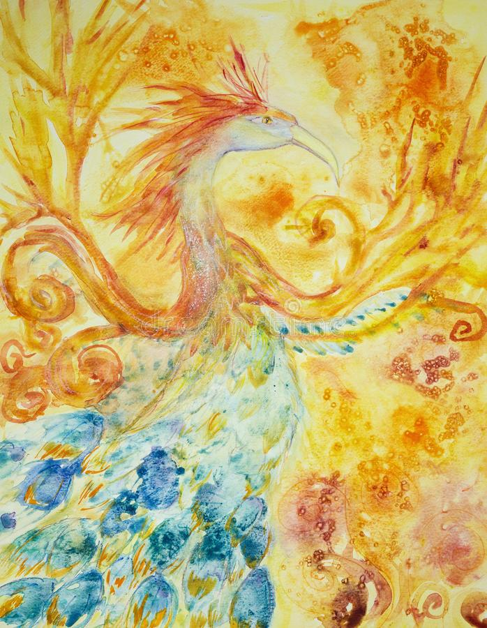 Phoenix in fire and flame. stock illustration