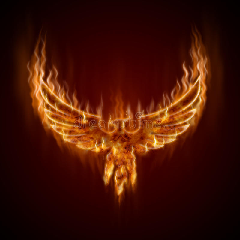 Phoenix from fire with wings royalty free illustration