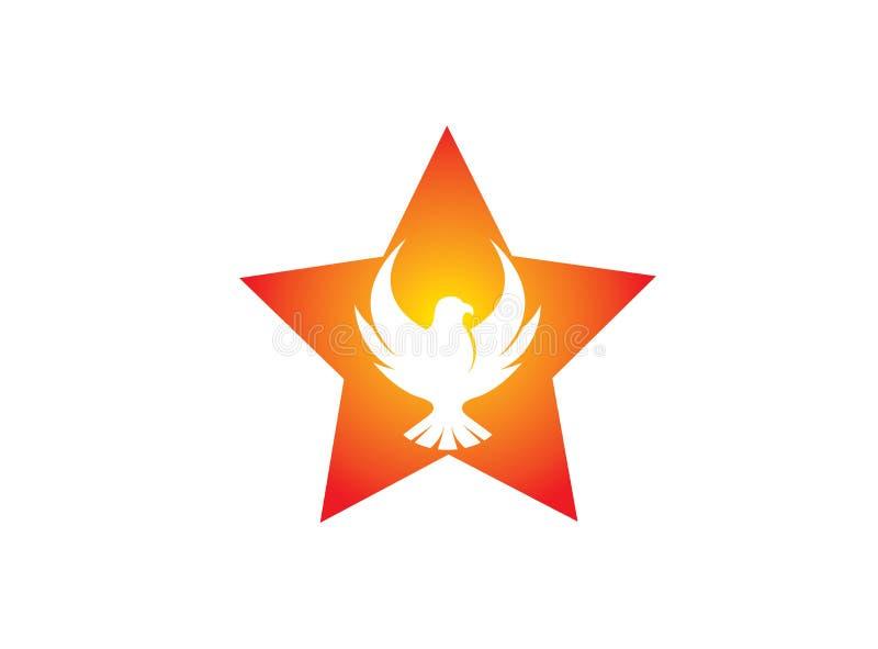 Phoenix-Fliegenvogel innerhalb des offenen Logos Flügel des Sternes und des Adlers lizenzfreie abbildung
