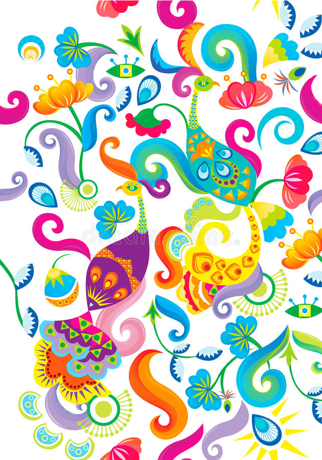 Phoenix and floral pattern background