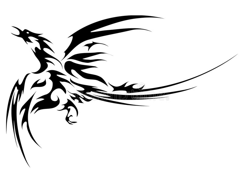Phoenix fly tatoo royalty free illustration
