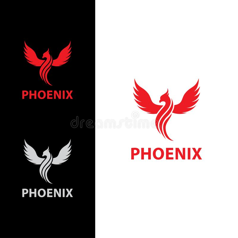 Phoenix flyg med linjen kropplogo stock illustrationer