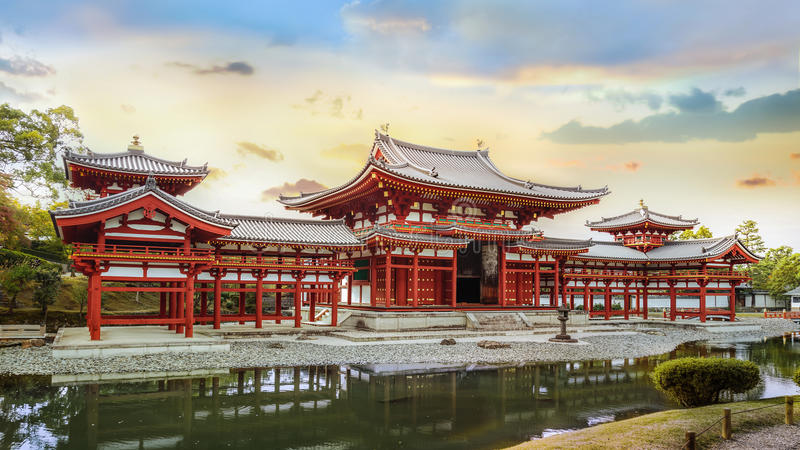 The Phoenix Hall of Byodo-in Temple in Kyoto royalty free stock image