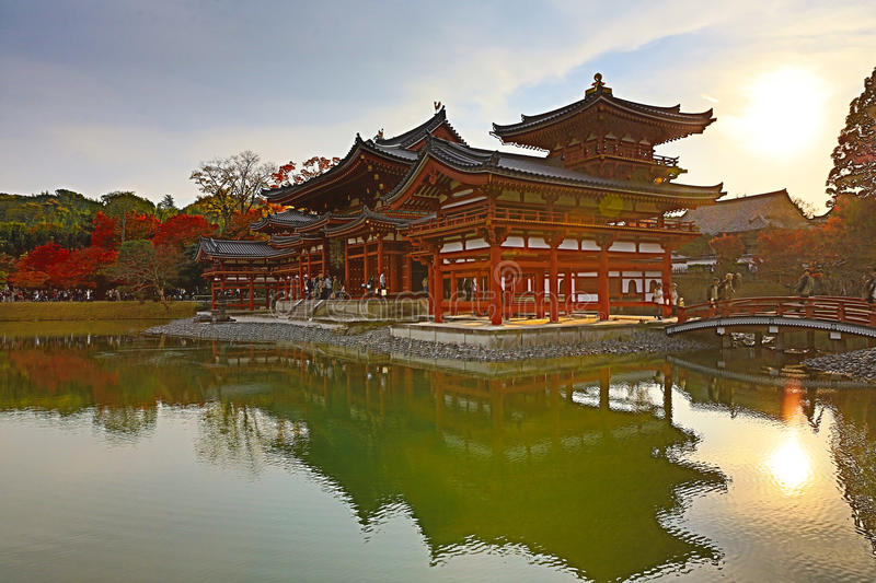 The Phoenix Hall of Byodo-in Temple in Kyoto, Japan stock photos