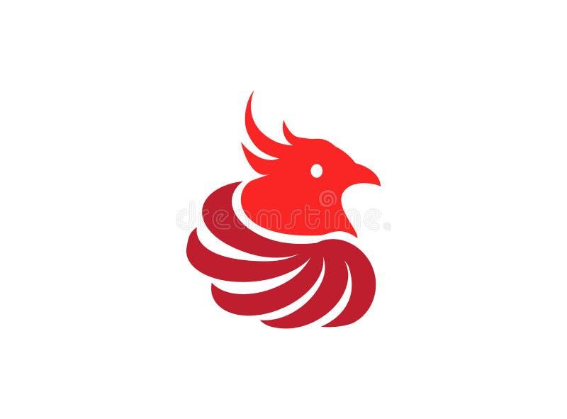 Phoenix head bird circles wings Logo for logo design illustration on a white background royalty free illustration