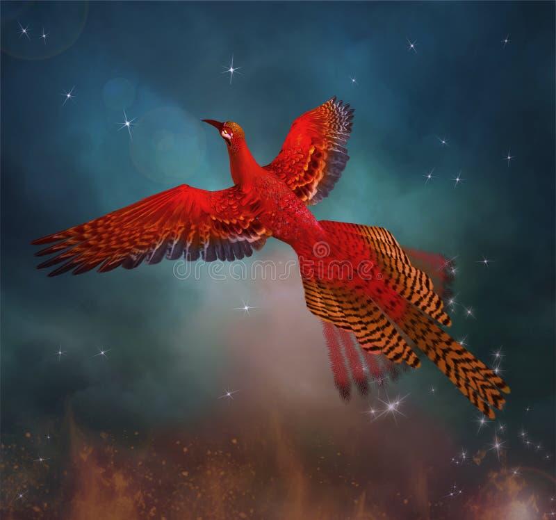Phoenix i en fantasihimmel vektor illustrationer