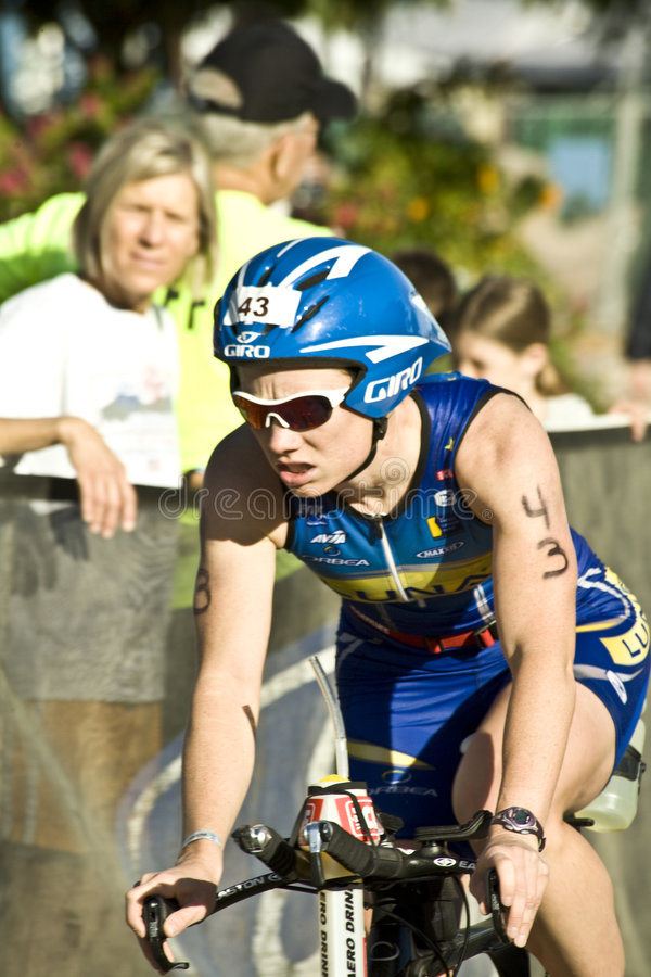 Phoenix Ironman Triathlon. Competitor Terra Castro in the cycling stage of the April 2008 Ironman Triathlon in Tempe Arizona royalty free stock photography