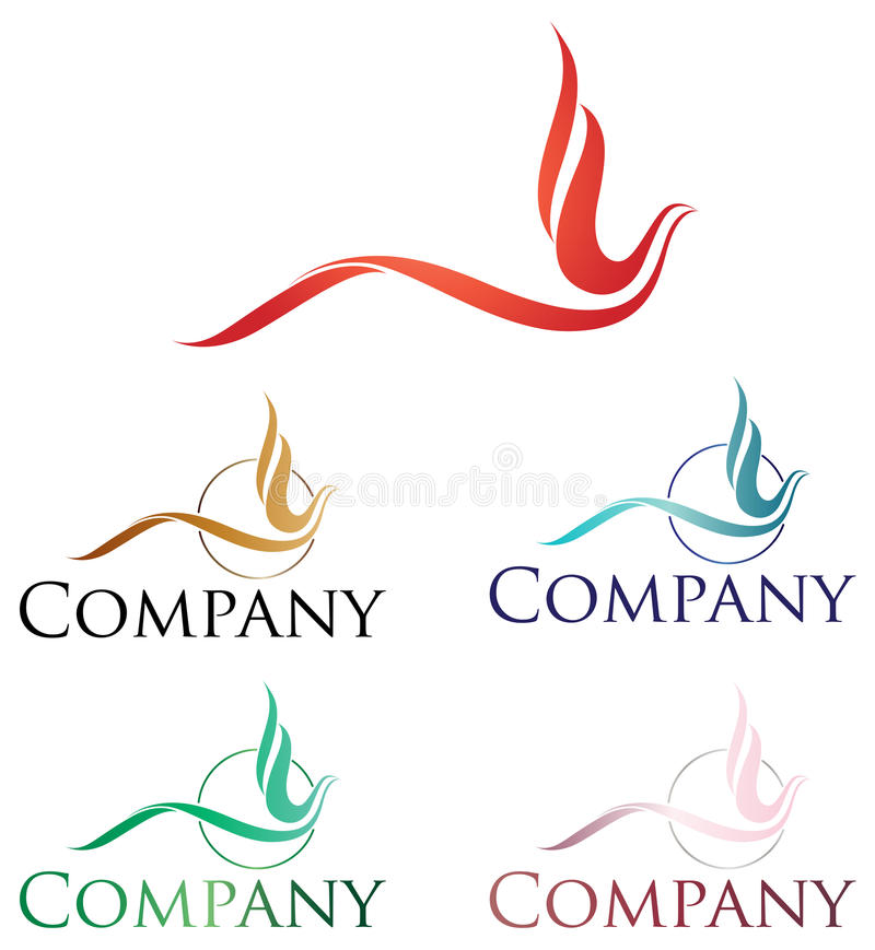Phoenix Logo. Elegant logo design, stylized firebird or phoenix