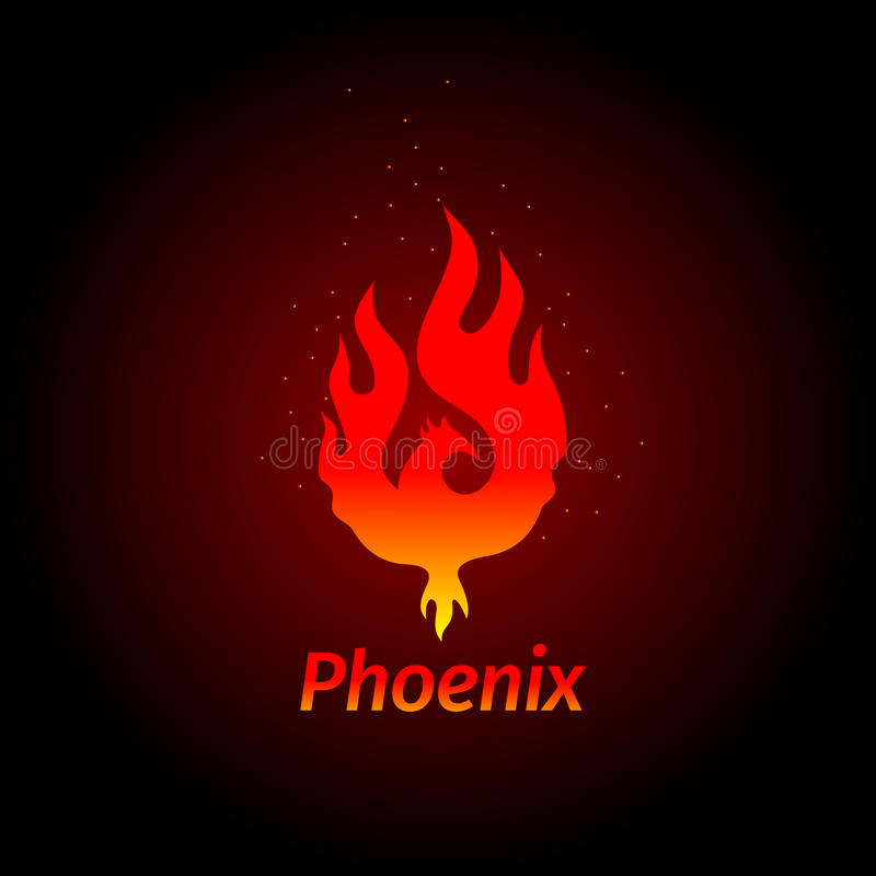 Phoenix logo- creative logo of mythological bird Fenix, a unique bird - a flame born from ashes. Silhouette of a fire bird. vector illustration