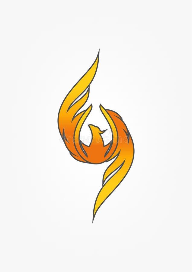 Phoenix logo design. Luxury phoenix logo design isolated in grey background royalty free illustration