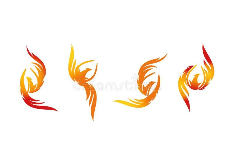 Phoenix, logo, fiamma, icona e progettazione di massima dell'uccello del fuoco illustrazione vettoriale